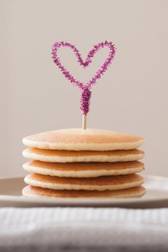 Dress up your pancakes with a pipe cleaner heart topper.