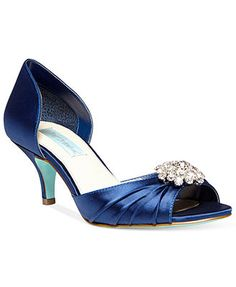 Blue by Betsey Johnson Stun Low Heel Evening Pumps in silver or ivory