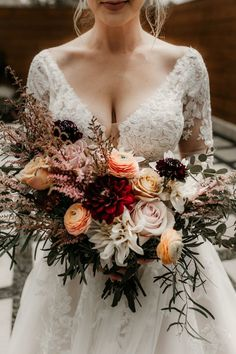 Great Flower Supply Expert Services Available Online Romantic Autumnal Bridal Bouquet Filled With Red, Coral, And Yellow Blooms Image By Payton Hartsell Photography Fall Wedding Bouquets, Fall Wedding Flowers, Fall Wedding Dresses, Bride Bouquets, Bridal Flowers, Floral Wedding, Flower Bouquets, Purple Bouquets, Boho Wedding