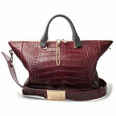 "CHLOÉ ""Baylee"" medium handbag in burgundy crocodile"