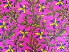 tissu wax africain * motif fleurs jaune et rose * par 0,50m : Tissus à thème par bouts-de-motifs