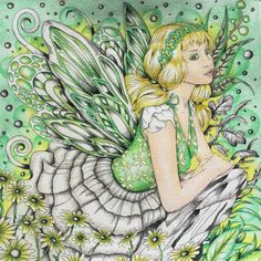 My green fairy! Finally found so reasonable daylight to take a photo today.  Fantasia by Nicholas Filbert Prisma pencils,fine liner,pan pastels #nickfilbert #fantasiacoloringbook #adultcolouring #adultcolouringbooks #coloringbook #arttherapy #colouringmasterpiece #colouringforadults