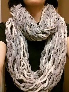 Silver Steel Arm Knit Chunky Infinity Scarf by TheRoseOfStonestreet