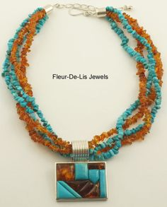 Jay King MINE FINDS Amber  Turquoise GALLERY Pendant  Necklace Sterling Silver