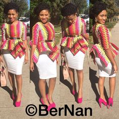 African Peplum Top Ankara Peplum Top by AfricanModernFashio African Inspired Fashion, African Print Fashion, Africa Fashion, Men's Fashion, Fashion Dresses, African Tops, African Women, African Beauty, African Attire