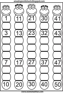 Missing Numbers. You could have students color even numbers one color and odd numbers another color teaching patterns as well.