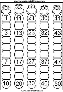 Fill-in number worksheet. Develops cognitive skills/memory