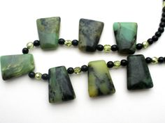 Vintage Moss Agate Cabochon Necklace Sterling Silver Green Crystal Black Onyx #Bead