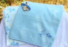 Embroidered Blue Puppies Playful Puppy with Bone Baby Fleece Blankets | KallieJosCottonPatch - Children's on ArtFire