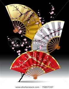 Buy Japanese Fans by romay on GraphicRiver. Raster version of vector image of three japanese fans with a sakura branch on black background Oriental, Chinese Fans, Art Asiatique, Art Japonais, Paper Fans, Japanese Paper, Japanese Beauty, Japanese Geisha, Japanese Kimono