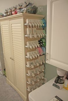 Dragonfly Dreams: New Stamp Studio..perfect idea for punch storage with  curtain rods :-)