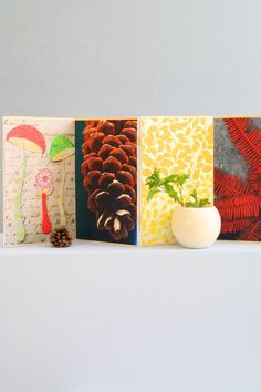 foam-core board. Connect them with tiny craft hinges (available at your local crafts store). Then use spray adhesive to attach color copies of the patterns or your own nature photographs