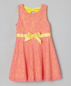 This Coral & Yellow Floral Bow Overlay Dress - Toddler & Girls by Speechless is perfect! #zulilyfinds