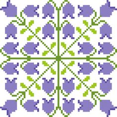 Few things say more that spring has arrived here in the UK than a carpet of bluebells in the woods!  This series of patterns is designed in perfectly square tiles that repeat both horizontally and vertically as well as across both diagonals. They can be used on their own or in groups, which create a new effect across the side lines and over the corners.  This particular tile shows the lovely little flowers in shades of lilac. This listing is for the PDF cross stitch chart shown. It's worked…