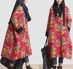 A40 Loose Fit Chinese Traditional  Women Long Floral Quilted Coat Dress /Pocket #YFS #BasicCoat