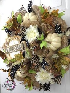 Deco Mesh Fall Burlap Welcome Wreath For by SouthernCharmWreaths by toni