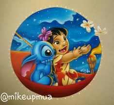 """84 Likes, 6 Comments - Mike Disney Prowse (@mikeupmua) on Instagram: """"My latest piece!! Had to keep this one a secret as it was a birthday gift for my friend ☺ • • • •…"""" lilo and stitch"""