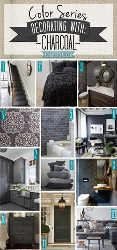Color Series; Decorating with Charcoal, grey, black, dark grey home decor   A Shade Of Teal
