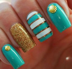 Turquoise and golden nails with stripes