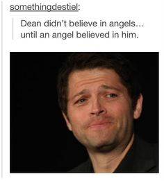 DO YOU REMEMBER WHEN DEAN YELLED AT SAMMY BECAUSE HE BELIEVED IN ANGELS AND HKFDBLDNSKSJSISBJS FEEEEEEL LS IM DROWINH IN FEELS