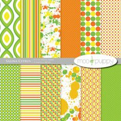 Digital Scrapbook Paper Pack  --  Salina Citrus  -  INSTANT DOWNLOAD