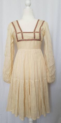 Vintage 60's GUNNE SAX by Jessica (McClintock) San Francisco GIRLS Cream Flared Muslin Dress w Ribbon Edge Square Bodice Muslin Dress, San Francisco Girls, Gunne Sax, Jessica Mcclintock, Bodice, Ribbon, Cream, Sewing, Inspiration