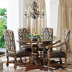 Handcrafted Chairs Boast Hand Carved Wood Frames Colorful Adobe Fabric Upholstery With Turquoise Color Highlights A Brown Leather Seat And Antique