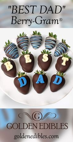 "Berry-Gram® is a unique and fun way to impress DAD! Send Hand-Dipped, perfectly ripe strawberries dipped in sinful dark Belgian Chocolate decorated with the word ""BEST DAD"" spelled out in blue lettering and classic drizzle. Simply delicious! Your gift (12 Belgian Chocolate Covered Strawberries) arrives in an elegant gift box perfect for giving with your personalized Gift Card. Perfect for Father's Day!"