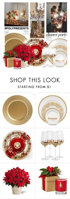 """""""#PolyPresents: Dinner Party"""" by olga1402 ❤ liked on Polyvore featuring interior, interiors, interior design, home, home decor, interior decorating, Waterford, Versace, Posh Totty Designs and Lux"""