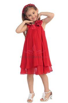 Red Satin bib necklin & chiffon A-line flower girl dress KD-255R2 on www.GirlsDressLine.Com
