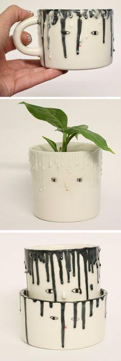 Drip planter by Kinska | drip ceramics | illustrated ceramics | modern planters