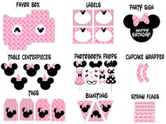 Minnie Mouse Printables and Photo Booth Props, Banner, Bunting, labels for Birthdays or any Party, DIY, Printable, Instant Digital Download