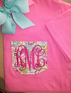 Monogrammed Short Sleeve Pocket Tee Vineyard Vines Lily Inspired on Etsy, $17.50
