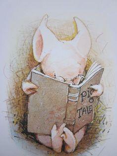 Piggie reading a book
