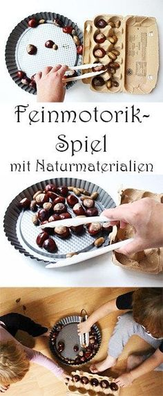 Basteln mit Kastanien und Eicheln: 7 geniale Ideen + Video Train fine motor skills with the help of natural materials. Montessori Materials, Les Aliens, Toddler Preschool, Fine Motor Skills, Natural Materials, Acorn, Busy Boxes, Kids And Parenting, Diy For Kids