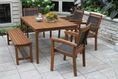 Outdoor Interiors 6pc Eucalyptus and Sling DiningSet with Arm Chair and Bench - JCPenney