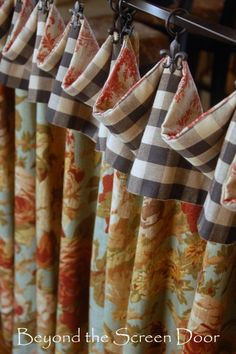 """Multi Fabric Cafe Curtain; inspiration -- have the top banding reversible. can flip over and hang them with the opposite side out (use a blackout liner clipped in to give white """"lining"""" view to the street)"""