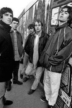 Oasis - old school. Noel, Tony, Guigsy, Bonehead and Liam.