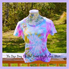 Pastel Shirt Tie Dye Sugar Skull  Day Of The Dead by tranquilityy