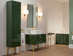 Daphne Bathroom Vanity Wood Luxury Italian Furniture in Forest Green Lacquer