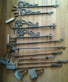 Current obsession? THESE...They need to be in my home. :) Antique Vintage Cast Iron Metal Swing Arm Extending 10 Curtain Rods Brackets | eBay
