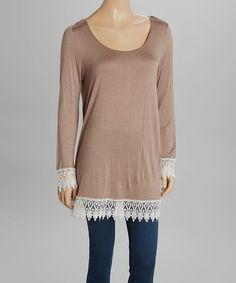 Look at this #zulilyfind! Mocha Lace Dolman Top by MOA Collection #zulilyfinds