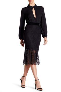 Image of ABS by Allen Schwartz Mermaid Hem Lace Skirt