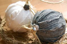 DIY Handmade rag ball ornaments! Time: hour. Need: styrofoam ball, fabric, craft glue or hot glue, scissors, floral U-pins, twine, embellishments