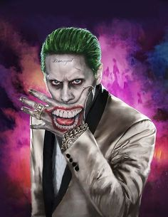 "Jared Leto as The Joker in ""Suicide Squad"" Jared Leto Joker, Der Joker, Joker Art, Batgirl, Catwoman, Joker Cosplay, Joker Et Harley Quinn, Suiside Squad, Joker Drawings"