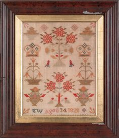 "Silk on linen sampler with crowns, potted tulips, and birds, wrought by EW, 1820, 11 1/2"" x 9"