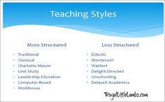 Determine teaching method and kids' learning styles