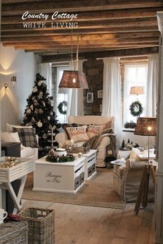 Today was the opening of the Country Cottage, the new concept of the farmhouse. - Today was the opening of the Country Cottage, the new concept of the farmhouse. The Country Cottage - # Christmas Living Rooms, Christmas Home, Cottage Christmas, Sweet Home, Cottage Interiors, Country Style Homes, Cottage Living, Cozy House, Farmhouse Decor