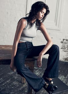 "Georgia Fowler in ""The New Denim"" by Darren McDonald for Harper's Bazaar Australia, March 2015"