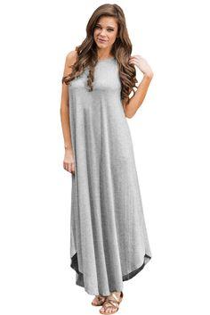 2e15cc3aaf10 Light Gray Sexy Chic Sleeveless Asymmetric Trim Maxi Dress